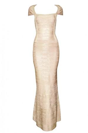Herve Leger Lora Woodgrain Foil Bandage Gown