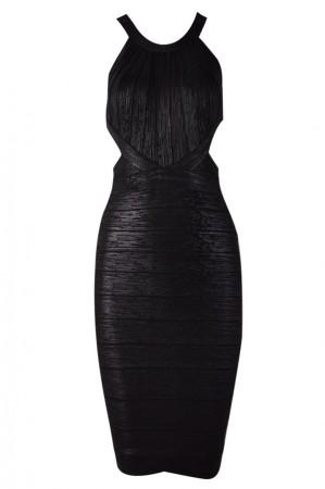 Herve Leger Marina Woodgrain Foil-Print Bandage Dress Black