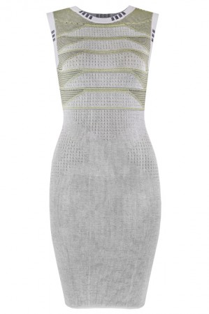 Herve Leger Bandage Dress Jacquared O Neck Tank Grey