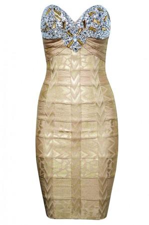 Herve Leger Metallic Strapless Bandage Dress