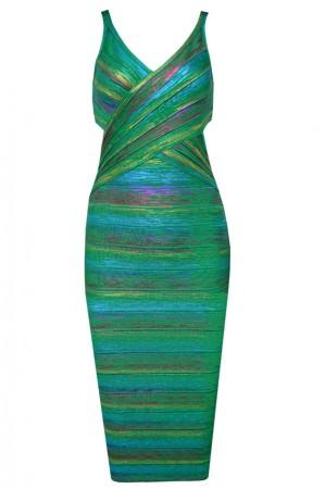 Herve Leger Foil Metallic Bandage Dresses Green V Neck Crisscross Backless