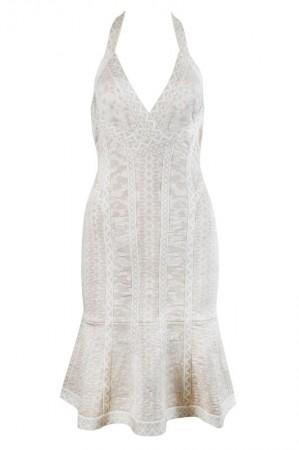 Herve Leger Danae Floral Diamond Jacquard Dress