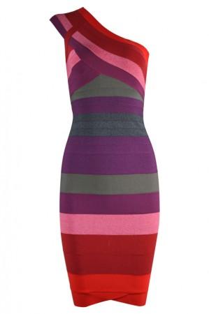 Herve Leger Bandage Dresses One Shoulder Ombre Red Club Dress