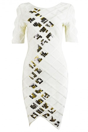 Herve Leger Cambree Diamond Quilting Beaded Dress