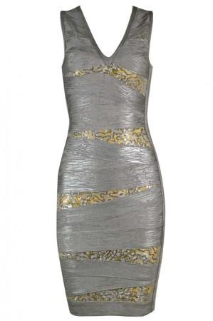 Herve Leger Bandage Dresses Foil Sequin V Neck Grey