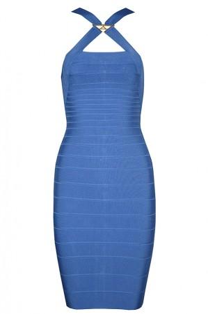 Herve Leger Bandage Dresses Crisscross Halter Sequined Blue