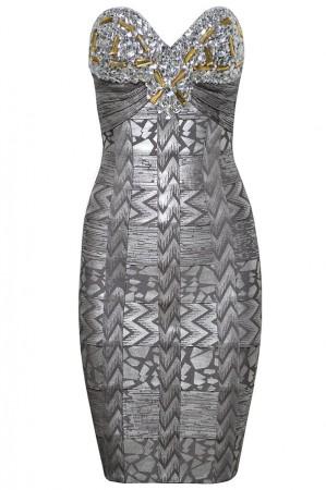 Herve Leger Silver Strapless Bandage Dress