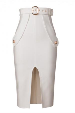 2021 New Women Sexy Split High Waist Solid Color Pencil Skirt