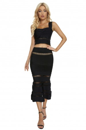 Two-Piece Cut-Out Dress With Black Suspenders
