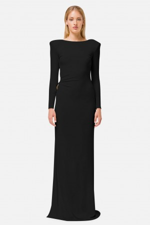 Black Mermaid Dress With Low Neck On The Back