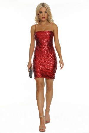 Sexy Slim Red Sequin Bandage Dress