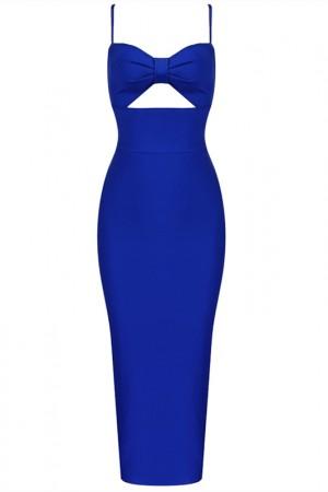 Sexy Slim Halter Long Blue Sling Dress