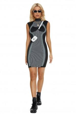 High Neck Sleeveless White Striped Black Bandage Dress