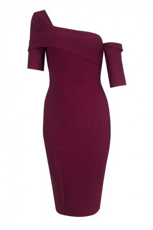 Red Off-The-Shoulder Split Bandage Dress