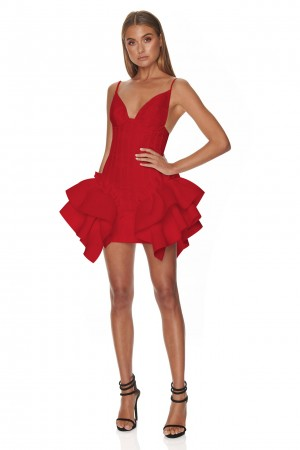 Strappy Sleeveless Asymmetric Ruffled Red Fishtail Dress