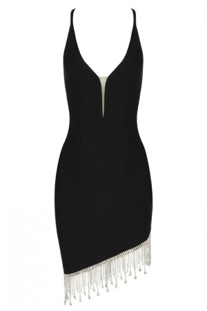 Black Plunging Neckline Cocktail Dress
