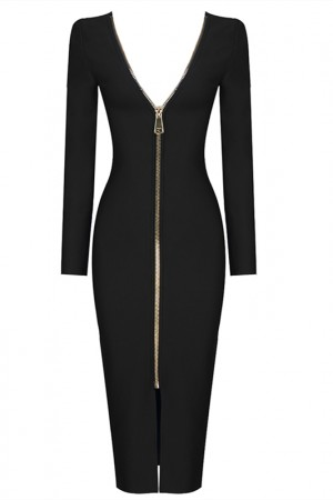 Long Sleeve Open Back Black Bandage Dress