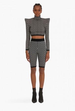 Bm Cropped Bicolor Jacquard Knit Sportswear Top+Shorts