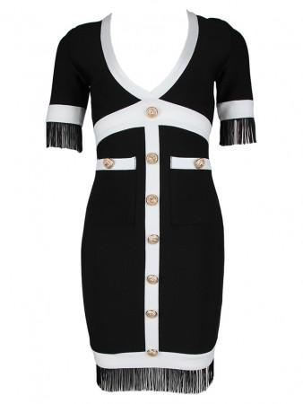 Color Block Deep V-Neck Fringe Bandage Dress