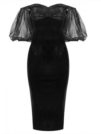 Black Mesh Off Shoulder Patchwork Bandage Dress