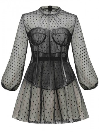 Black Polka Dot Mesh Two-Piece Suit Waist Puff Sleeve Dress