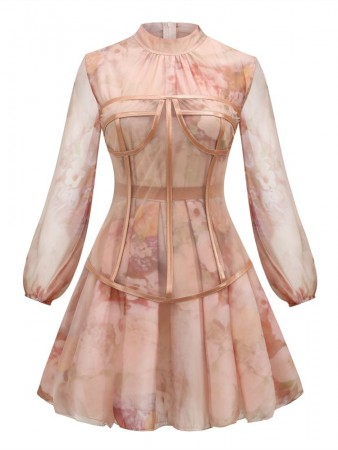 Rose Turtleneck Silk Long-Sleeved Mini Dress