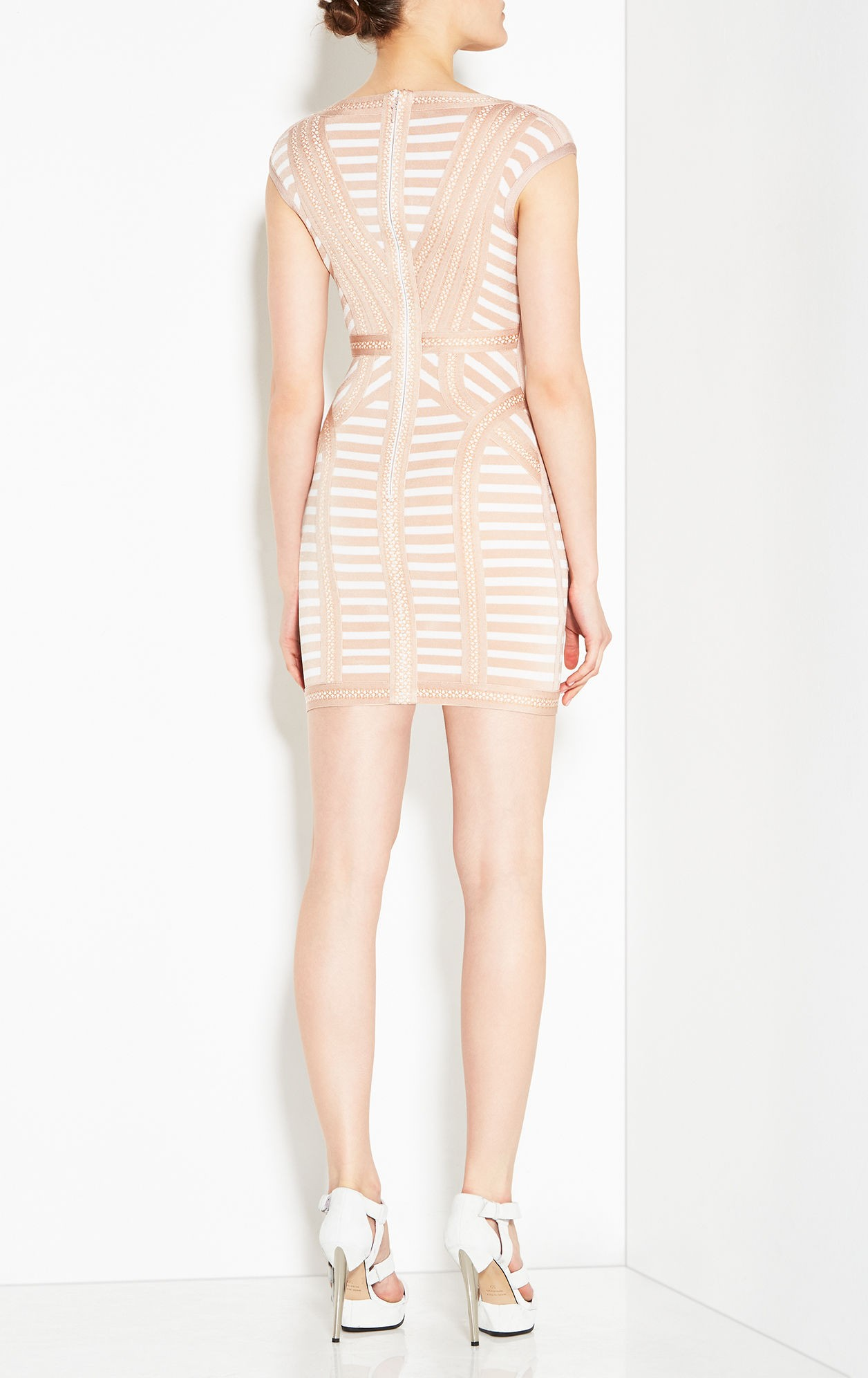 cb5afa7961d Herve Leger Katina Striped Lacing Detail Dress