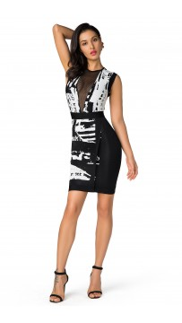 Herve Leger Bandage Dress O Neck Gauze Print Black