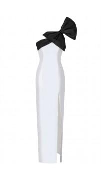Two-Tone Bow-Embellished Silk Bandage Dress