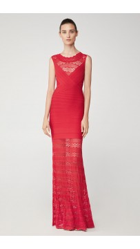 Herve Leger Mixed Diamond Pointelle Gown