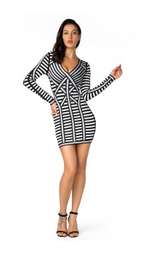 Herve Leger Bandage Dress Long Sleeve  Black Stripe