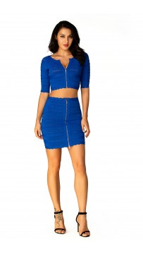 Herve Leger Bandage Dresses Two Piece Half Sleeve Mini Dress Blue