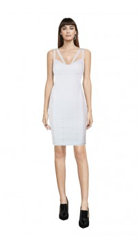 Herve Leger Delana Metallic Twist Bandage White Dress