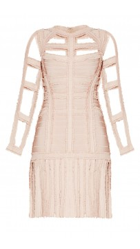 Herve Leger Brielle Chiffon Detail Dress