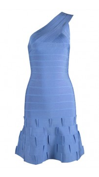 Herve Leger One Shoulder Ruffled Hem Dresse Dress Blue