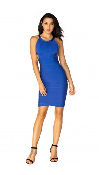 Herve Leger Bandage Dresses Halter Blue Backless
