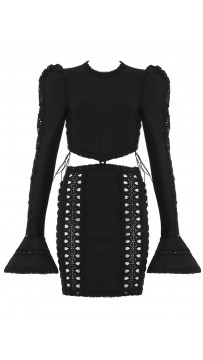 Black Flare Long Sleeve Hollow Out Bandage Dress
