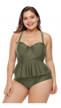 Plus-Size Green Split Swimsuit