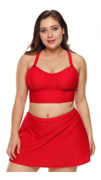 Red Swimsuit Plus Size Halter Bikini