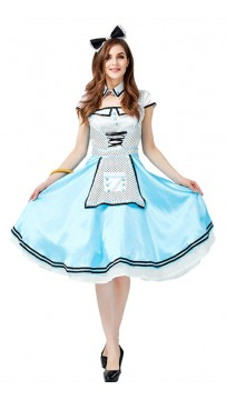 Halloween Alice In Wonderland Black And White Dot Cosplay Costume
