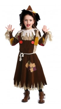 Halloween Children Cosplay Wizard Of Oz Cute Scarecrow Role-Playing Suit