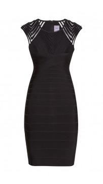 Herve Leger Deanna Tulle Applique Dress Black