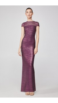 Herve Leger Tulle Applique Metallic Gown