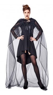 Halloween Witch Party Tulle Long Cloak Costume