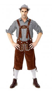 German Oktoberfest Traditional Men's Plaid Beer Costumes