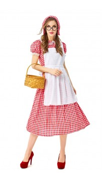 French Farm Costume Red And White Check Lace Oktoberfest Costume Maid Master Dress