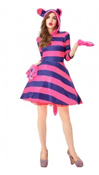 Halloween Cheshire Cat Cute Striped Dress