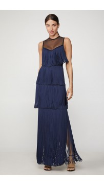 Herve Leger Illusion Lurex Fringe Gown