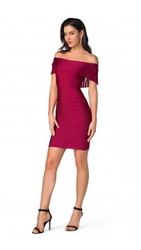 Herve Leger Bandage Dress Off Shoulder Flouncing Red