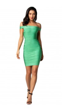 Herve Leger Bandage Dresses Off Shoulder Mint Green Mini Dress
